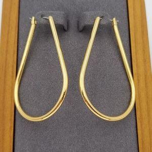 J. Crew Gold Elongated Hoop Earrings
